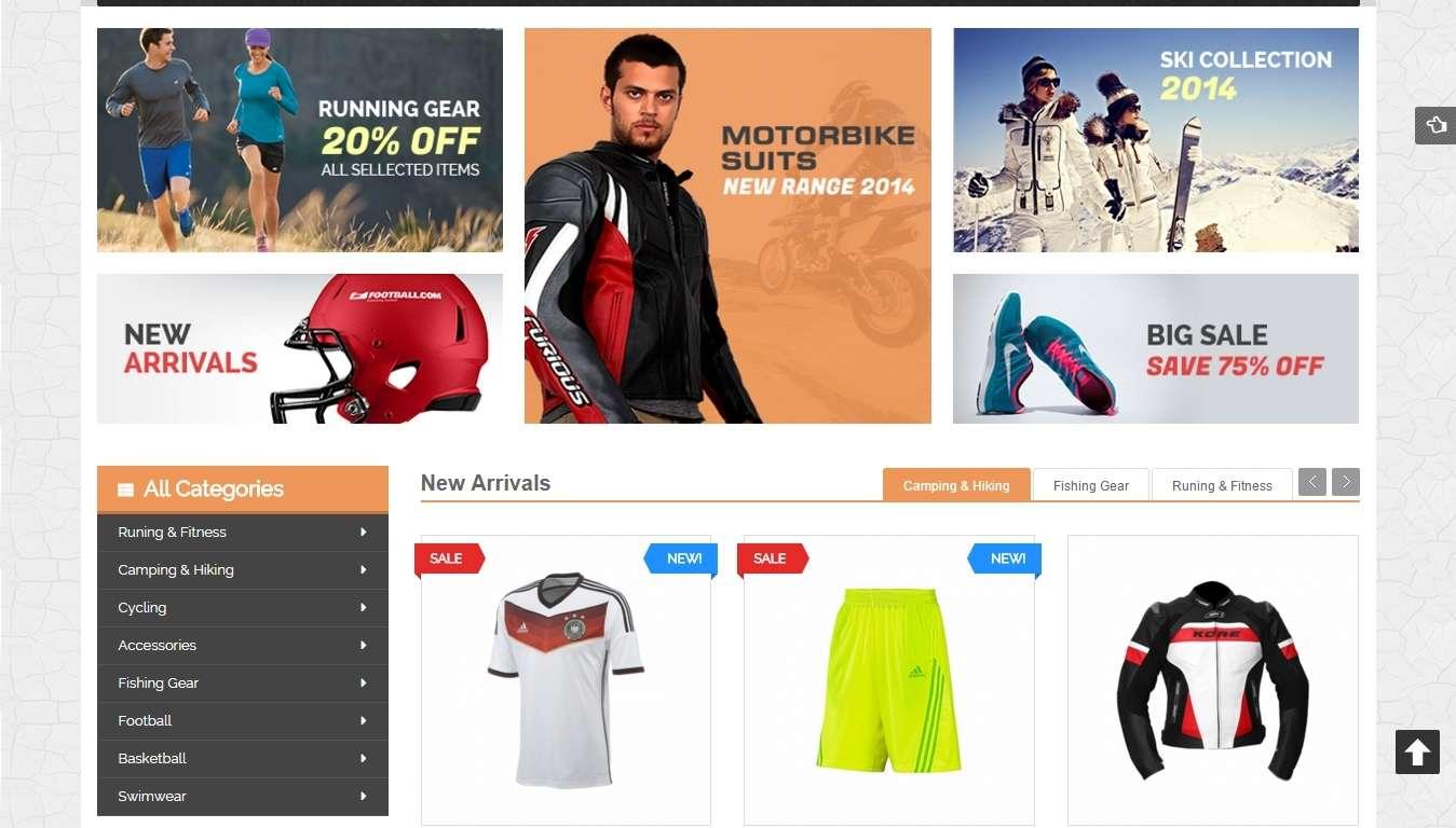 Отзывчивые magento шаблоны для интернет магазина спорт товаров
