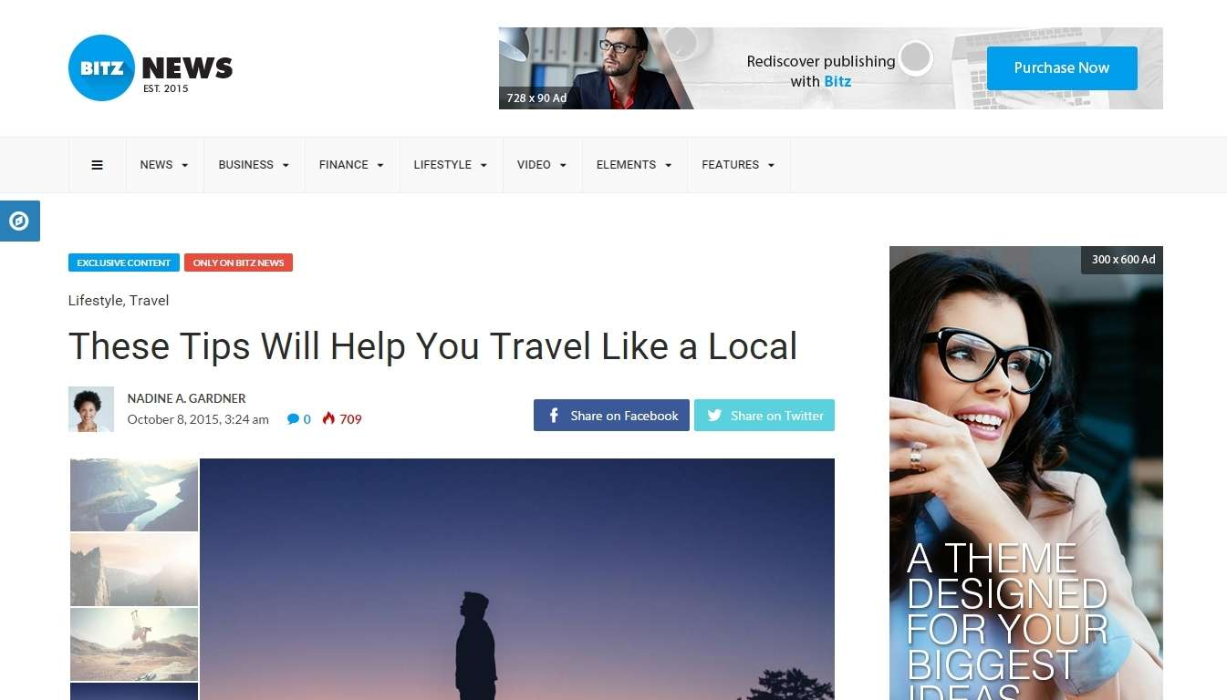 Чистый шаблон сайта для блога, газеты и журнала