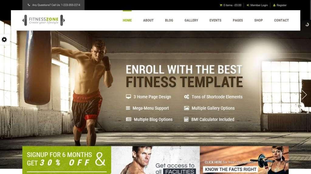Шаблон фитнес-клуба wordpress