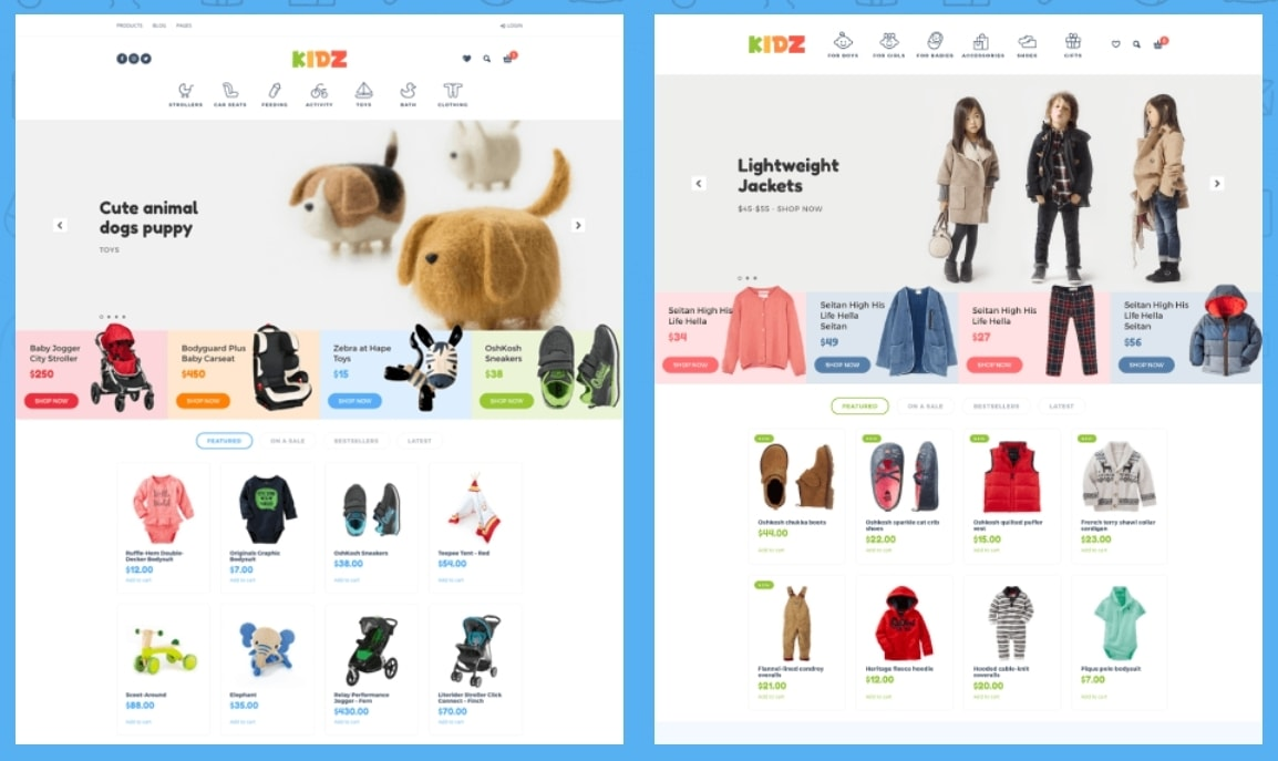 KIDZ – шаблон сайта детского интернет магазина с ярким дизайном на  Вордпрессе. готовый интернет магазин ... 303fc84a4cb