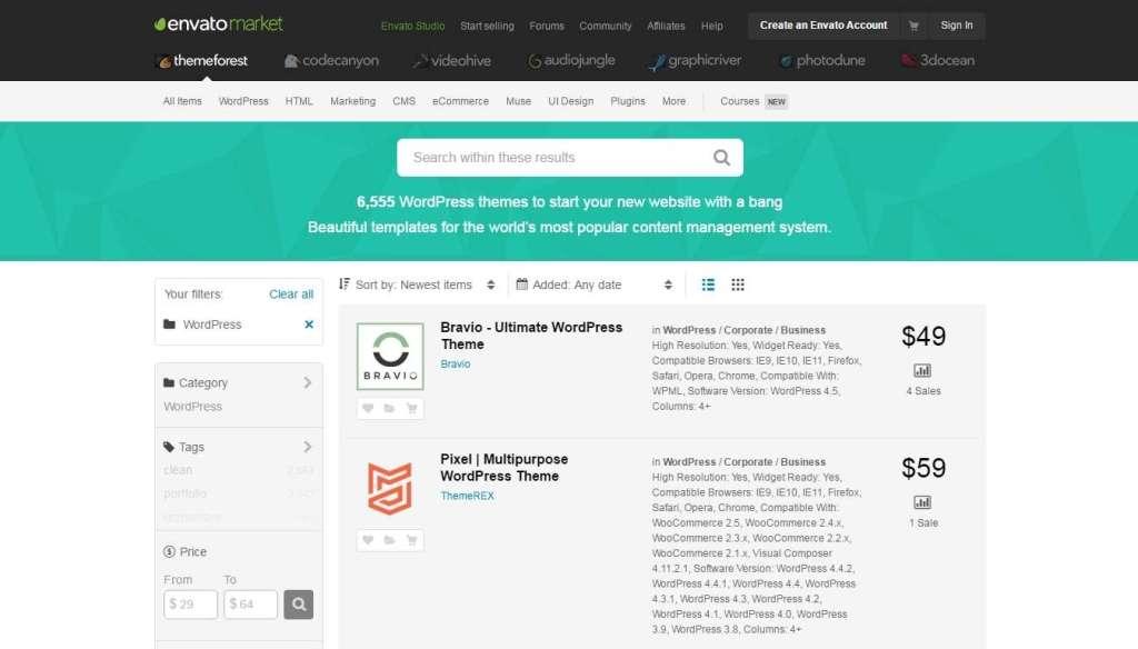 как искать и покупать шаблоны WordPress на Themeforest 2