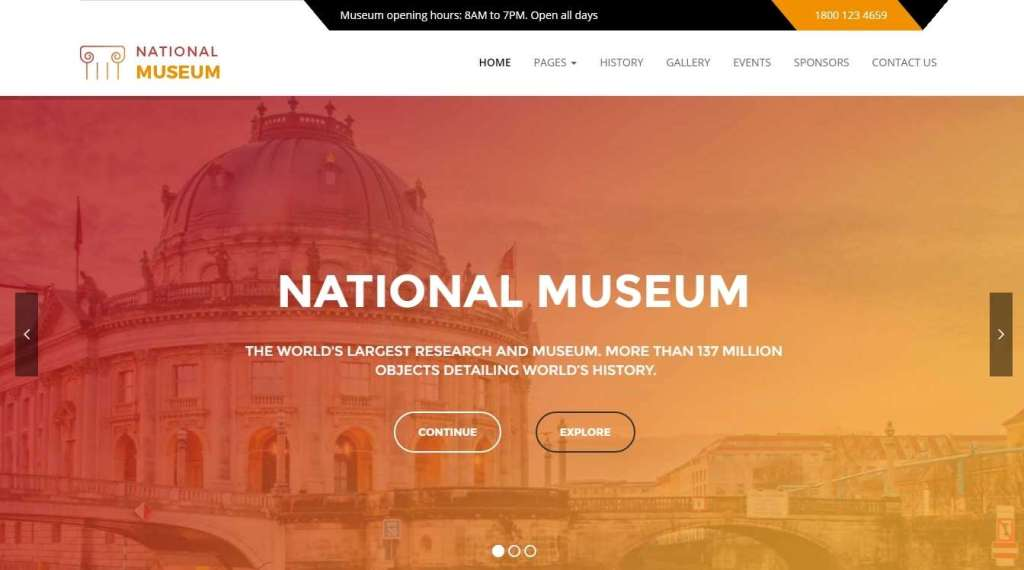 великолепные премиум WordPress шаблоны сайта для музея и галереи 2016