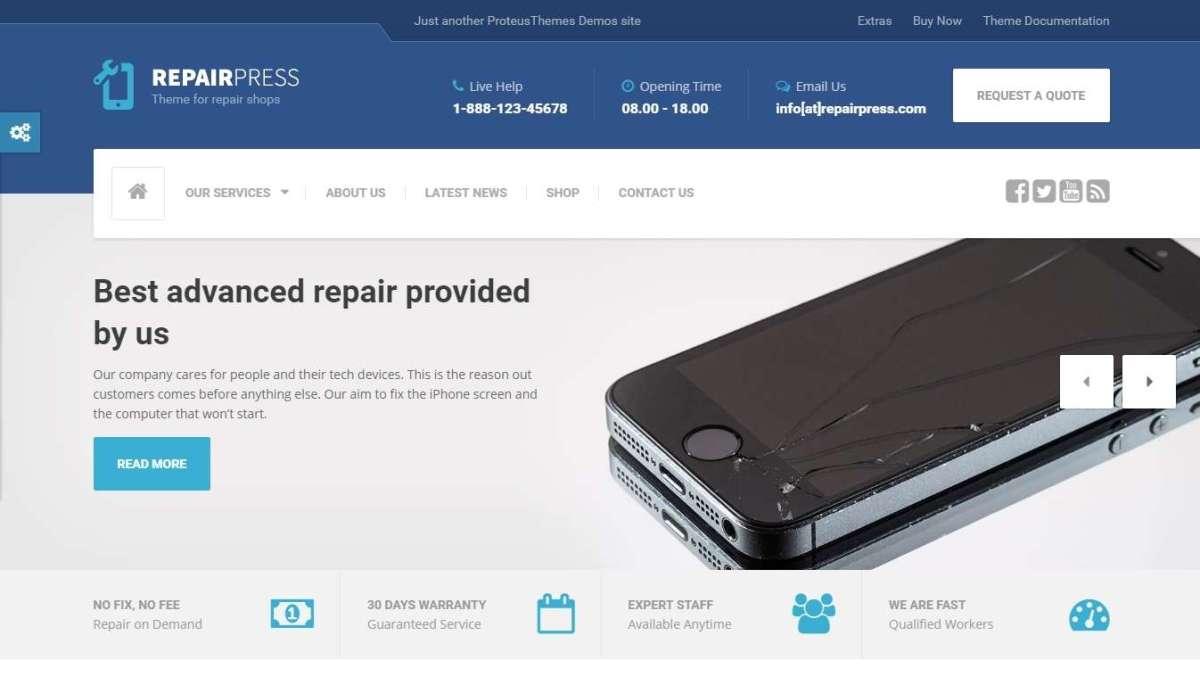 WordPress шаблон ремонт компьютеров и телефонов 2017
