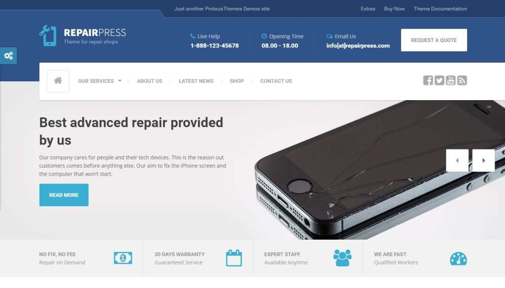 крутой WordPress шаблон ремонт компьютеров и телефонов 2017