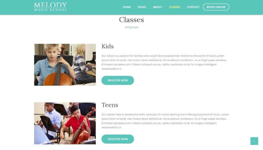 крутые WordPress Шаблоны музыкальной школы с премиум дизайном 2017
