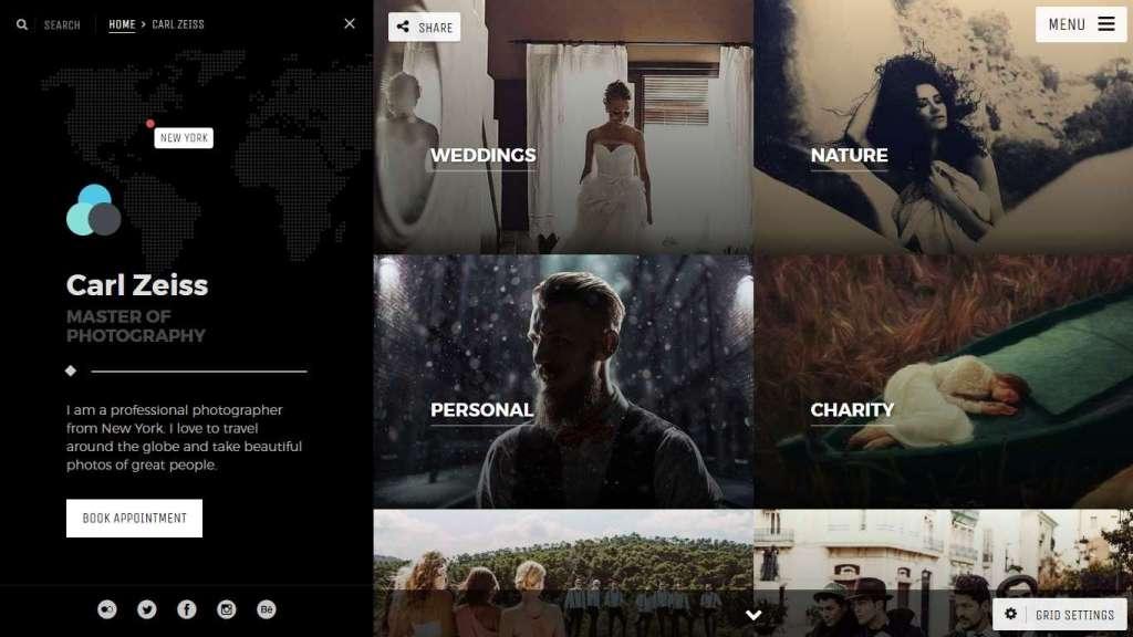 многофункциональные шаблоны фотограф для WordPress - премиум дизайн и функции 2017
