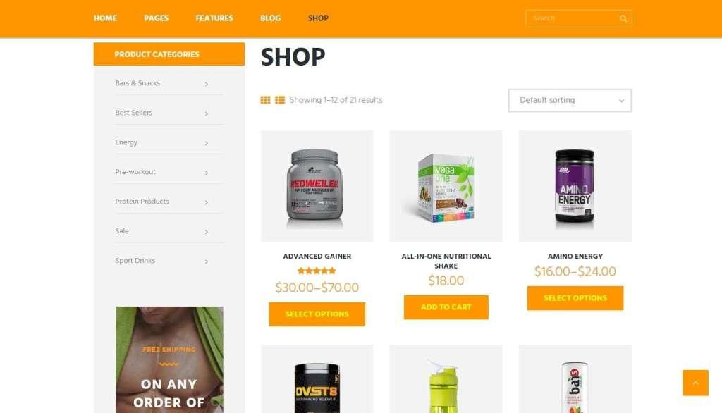 отличный спортивное питание шаблон для интернет магазина 2017