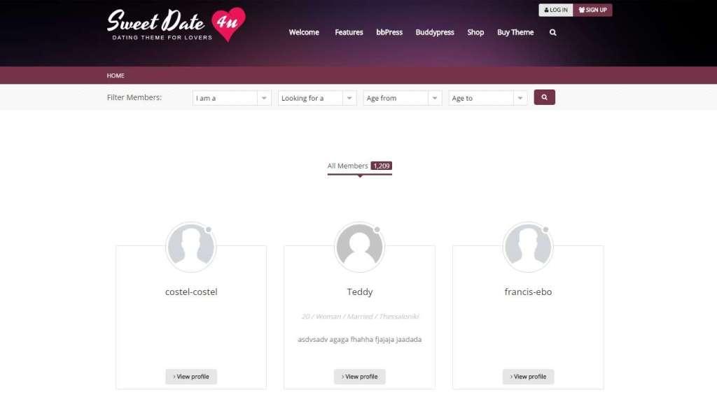 лучший шаблон сайта знакомств на WordPress 2017 4