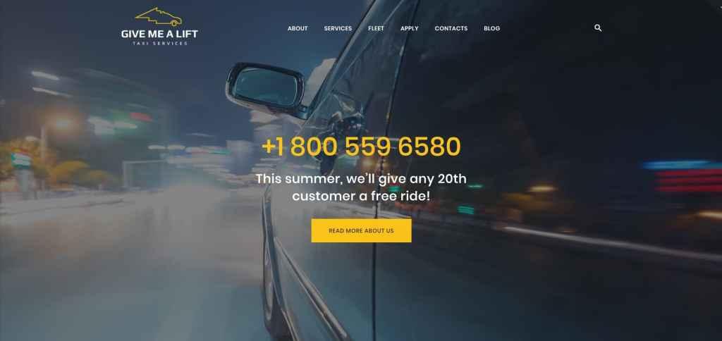 Шаблон сайта такси с классическим желтым дизайном 02