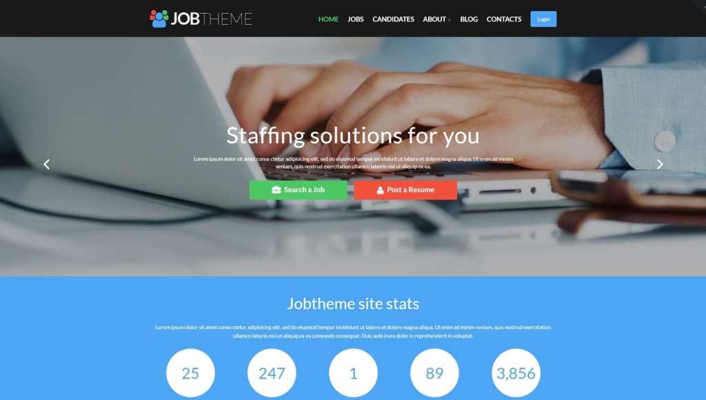 WordPress шаблон сайта поиска работы, биржи труда или сайта вакансий 01