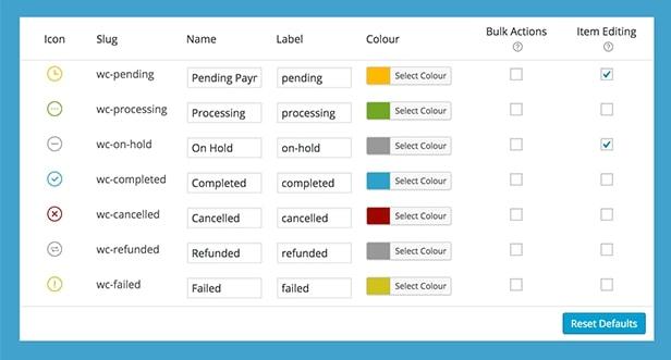 Статусы заказов WooCommerce с настройкой цвета, иконок и оповещений