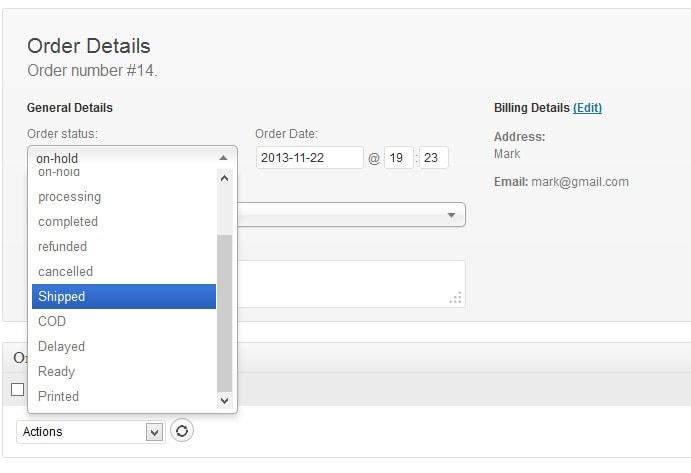 статусы заказов WooCommerce с настройкой цвета, иконок и оповещений 3