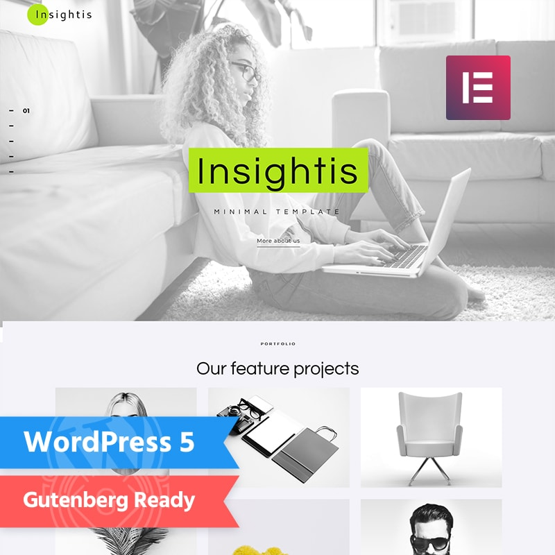 WordPress шаблон Insightis - Creative Minimal Elementor