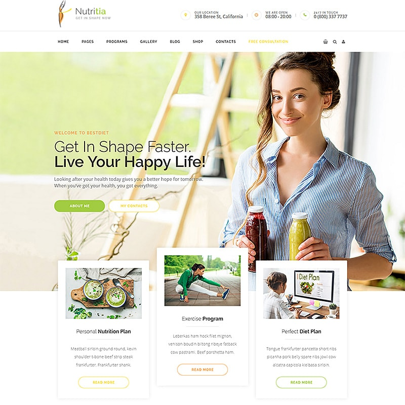 WordPress шаблон Nutritia - healthy nutrition and dietology