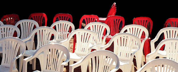 Pic of white and red chairs