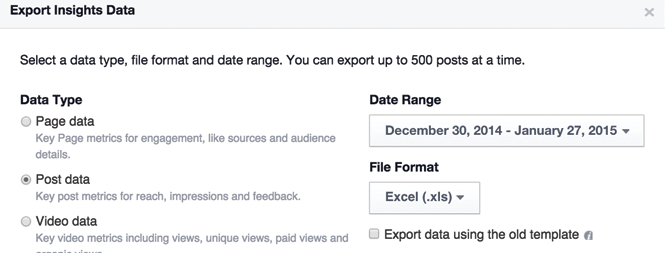 Exporting Facebook Post Data