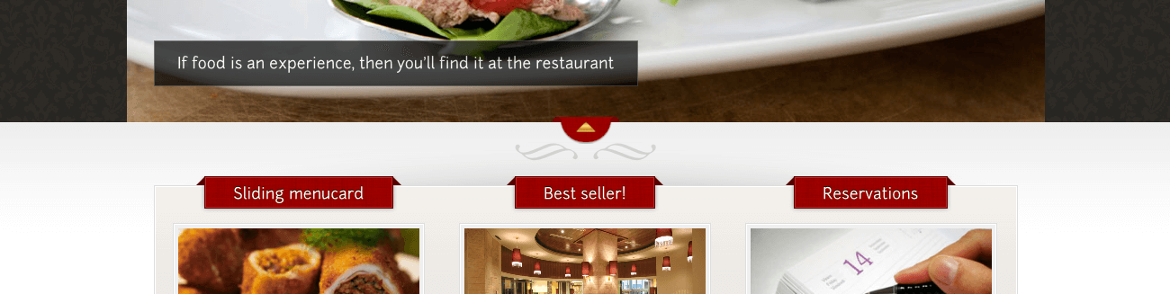 Example restaurant theme, with pre-installed widgets for taking reservations