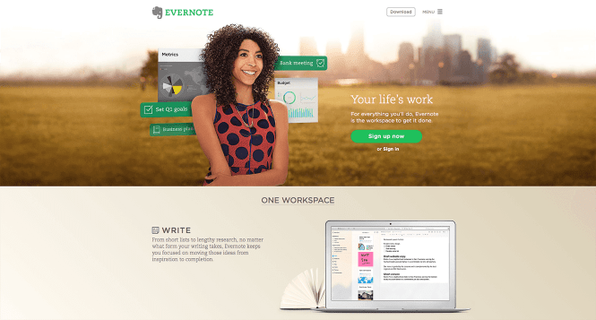 An Effective Landing Page communicates in a Clear and Simple Way - Evernote explaining clearly what they do