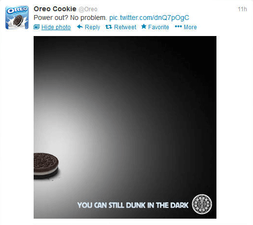 Power out? No problem. - Oreo Cookie tweet.