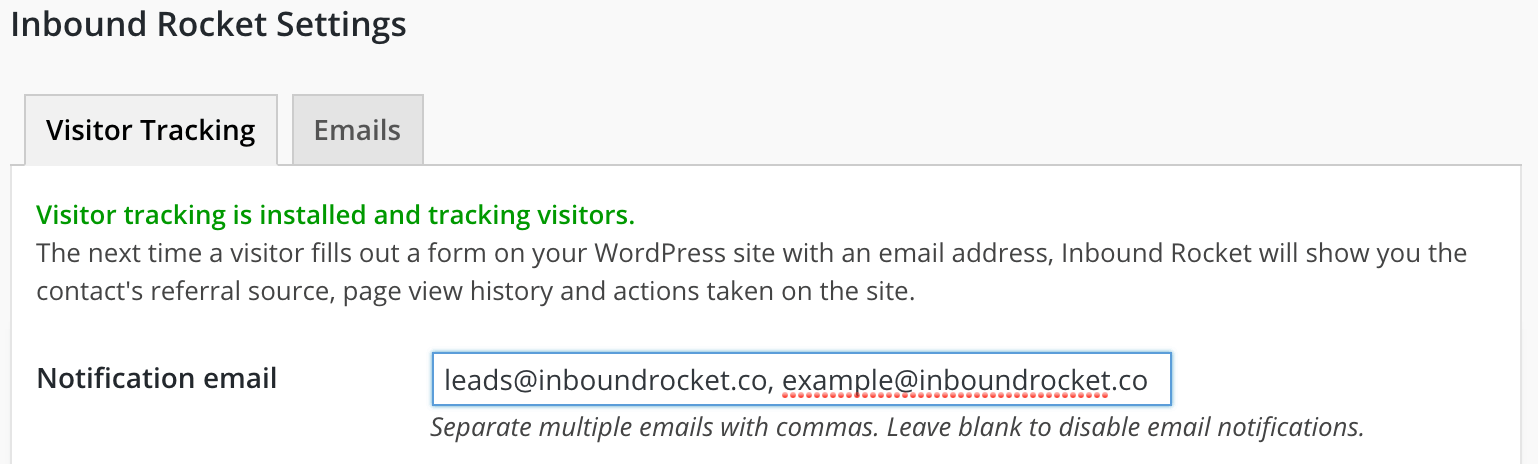 Adding your email address to your Inbound Rocket installation to enable notifications.