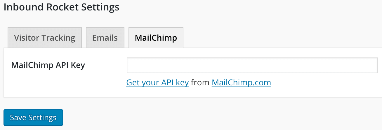 Inbound Rocket - paste your MailChimp API key