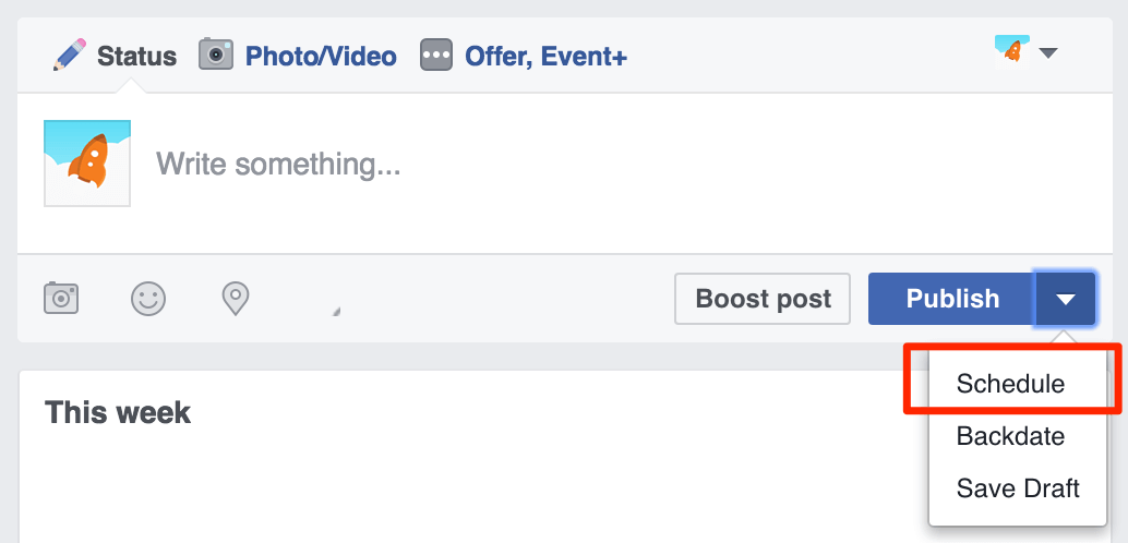 Schedule a Facebook post natively