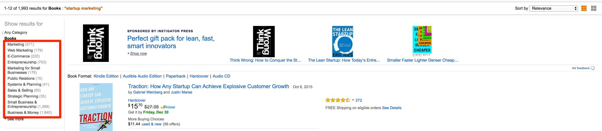 Amazon subcategories