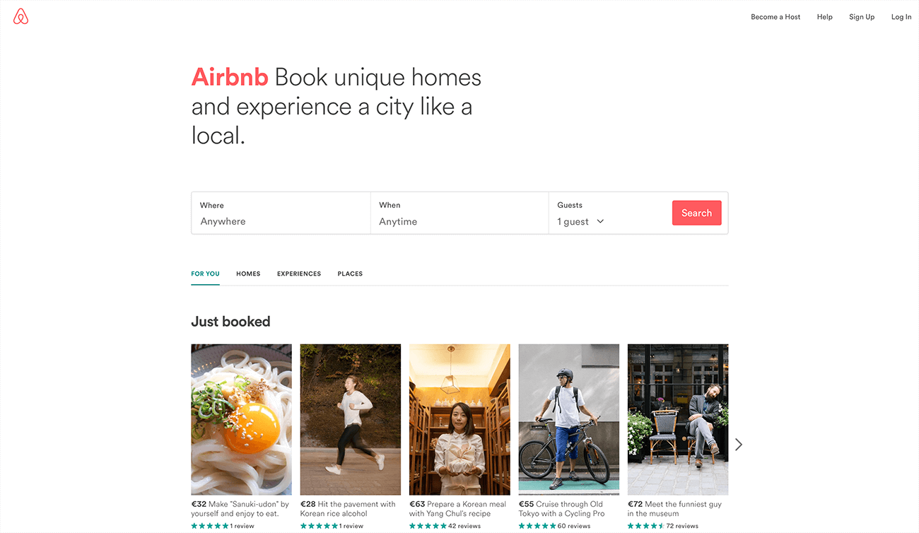 Airbnb's beautiful clear homepage design, a clear value proposition and a straightforward CTA.