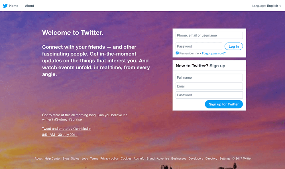 The Twitter homepage in 2017, focusing on the two most important items: sign-in or sign-up.