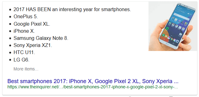 "Bullet point featured snippet presented to the search query ""top smartphones of 2017"""