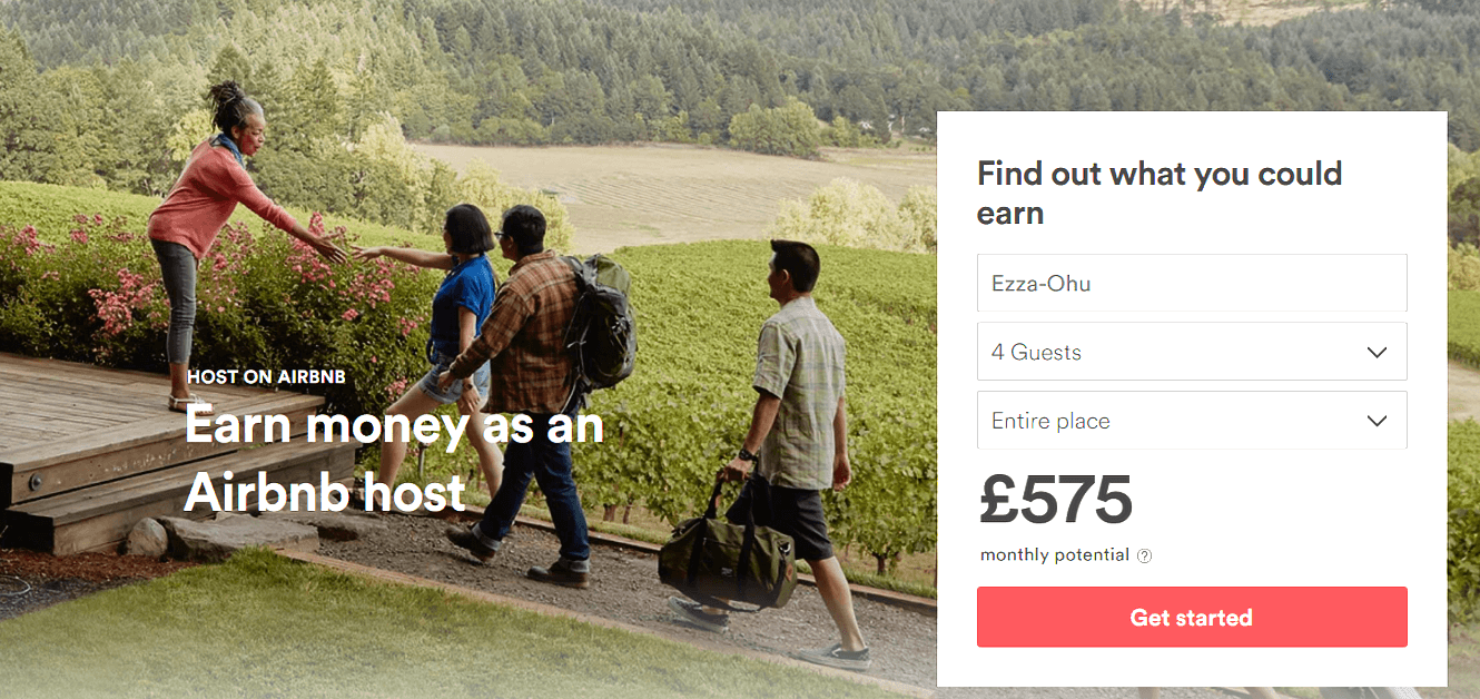 AirBnB landing page example