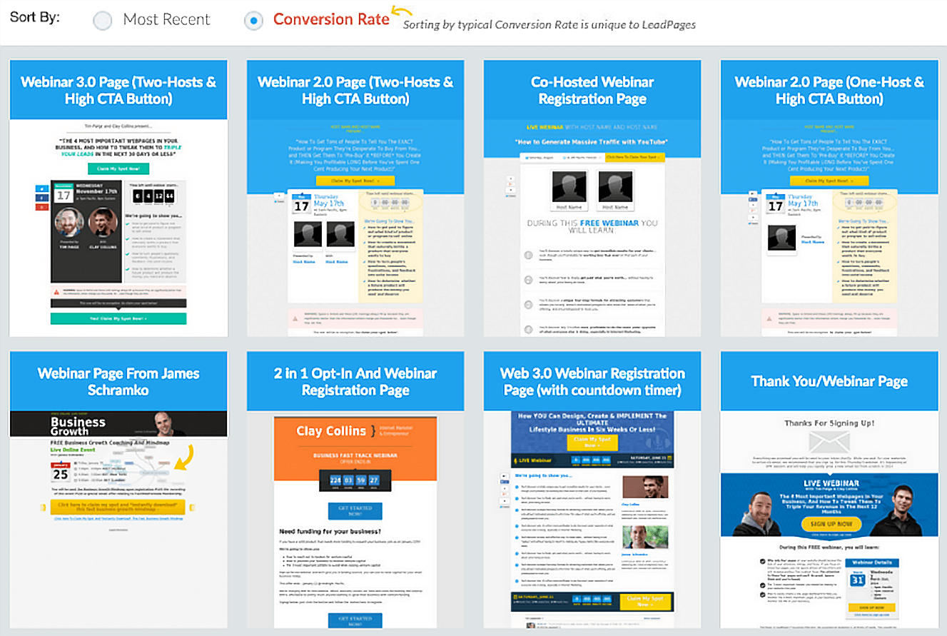 Leadpages showing a post-webinar presentation