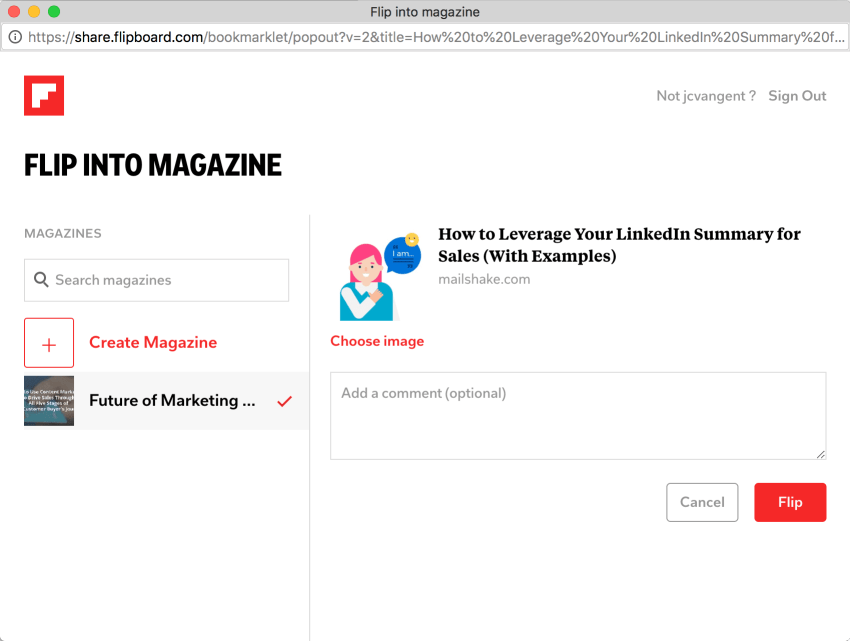 Adding an article to your Flipboard magazine