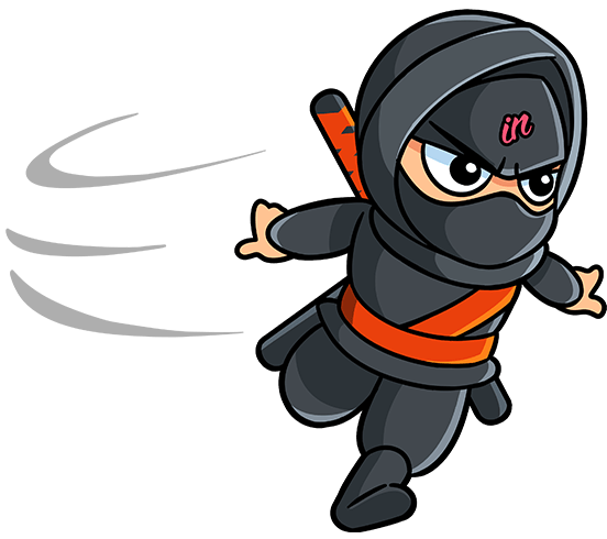 Illustrated IN Business Ninjas running Ninja and swoosh with orange belt on a clear background for the testimonials page