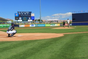 Photo: Throwing out the first pitch is 10-year-old Billy McGreal of Peoria.  His non-profit Billy's Place is a beneficiary of the Peoria Spring Training's Charity Game between the Mariners and Padres March 4, from which nearly all money went to charity.