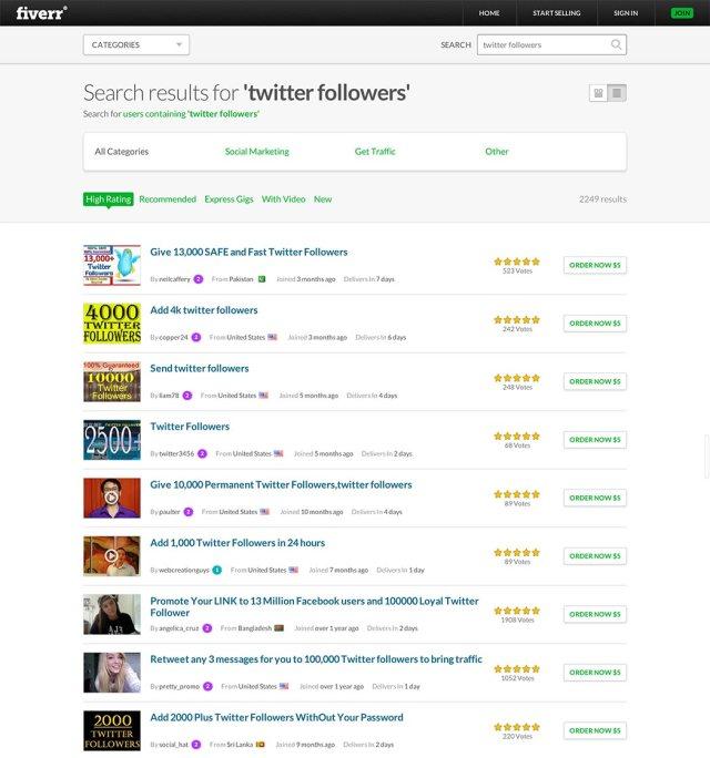 Fiverr - Buy Twitter Followers
