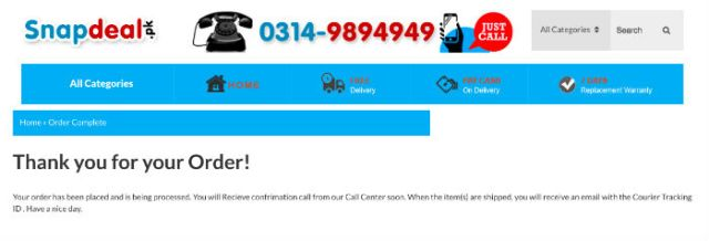 snapdeal order confirmations