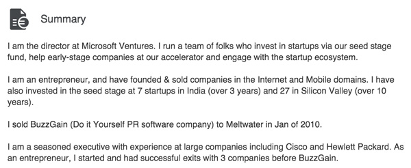 His Latest LinkedIn Profile—Claims 3 Successful Exits before BuzzGain