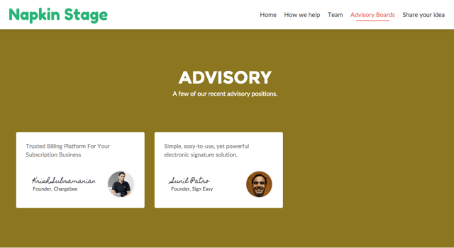 Screenshot Of NapkinStage's Website As Of Today