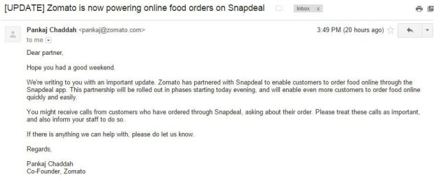snapdeal zomato