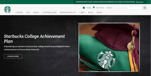 Starbucks website
