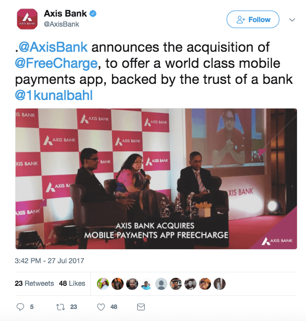 axis bank-freecharge-digital payments