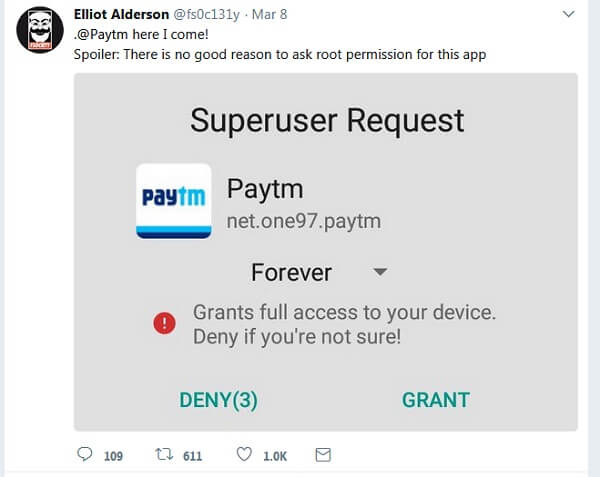 paytm-root access-android phones