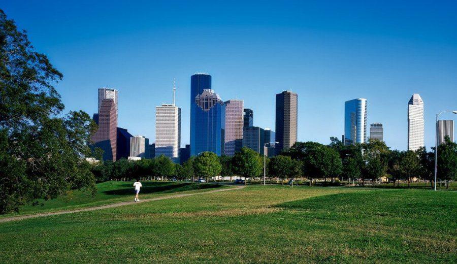 Houston park and skyline