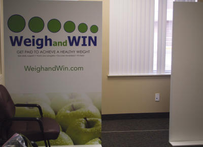 Brush received its first quarterly report for its Weigh and Win program kiosk, pictured here in the East Morgan County Hospital clinic lobby. In the first quarter, 193 people enrolled in the program via the clinic kiosk and have collectively lost 375 pounds. (Lisa Jager/News-Tribune)