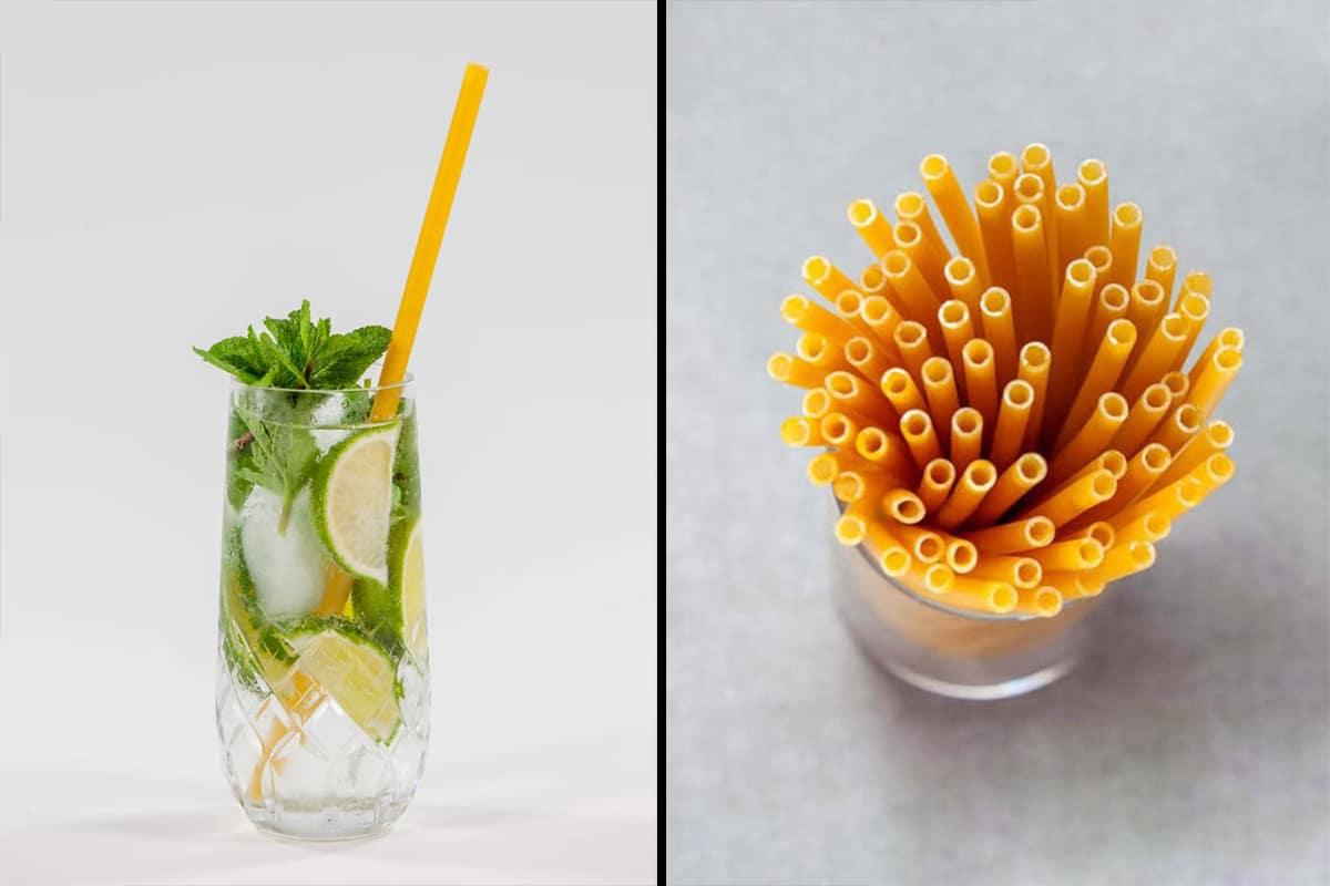 Biodegradable pasta straws, another plastic straw alternative.