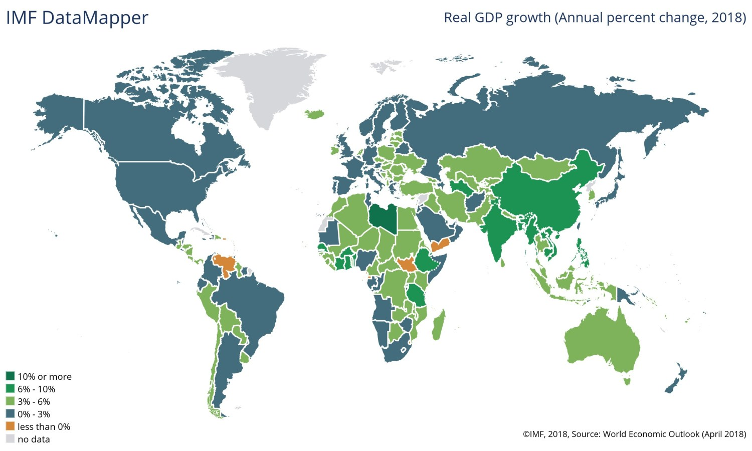 The picture shows all the Countries of the world, colored with differents kinds of green colors to represent the relatives forecasts concerning 2018 GDP