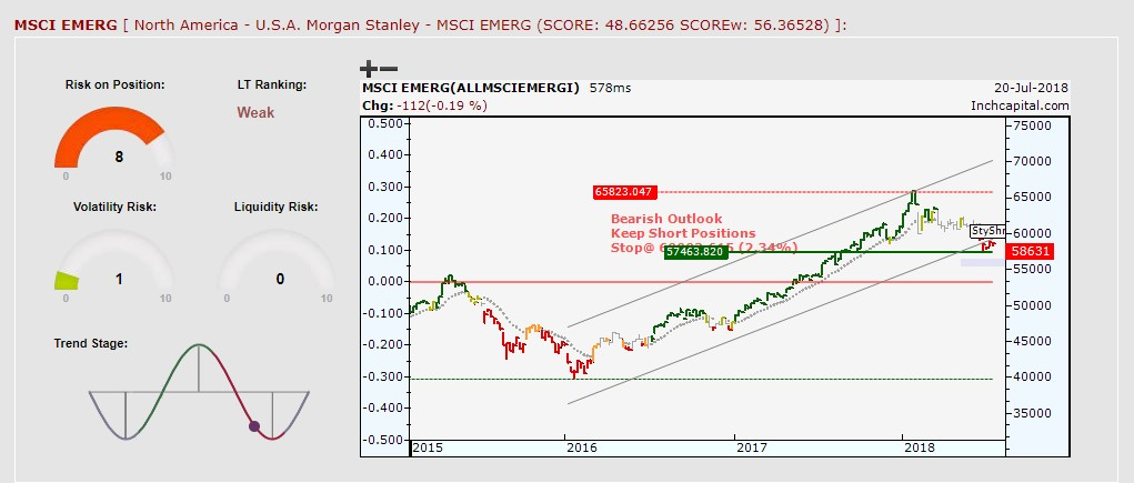 The picture shows MSCI Emerging Local chart depicted by weekly bar chart to highlight medium-long term trend