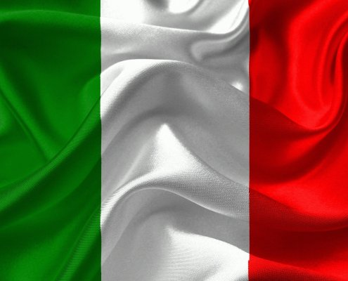 The picture highlights the italian flag to repesent BTP 10yr italian government bond