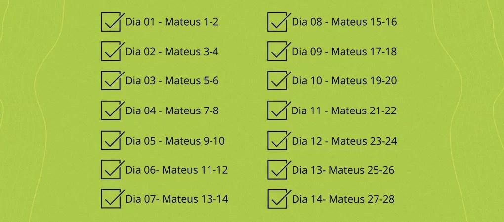 Modelo de plano de leitura do livro de Mateus